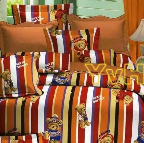 ==YvH==MIT 100%精梳純棉 3A69英倫熊(磚紅)雙人床包兩用被4件組**雙面印花**台灣製(訂做款)