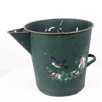 百寶軒 19世紀西洋古董民俗收藏鐵器澆花澆水鐵桶印花圖案擺設收藏 ZG1259