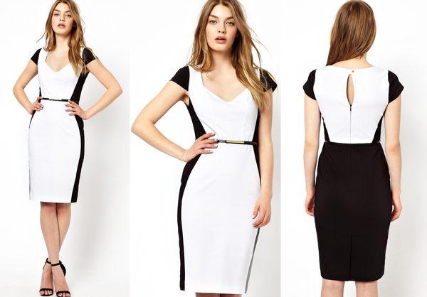 【ASOS WORLD】英國直送 現貨特價 Oasis正品黑白色拼接俐落優雅合身顯瘦鉛筆裙OL套裝婚禮  UK10