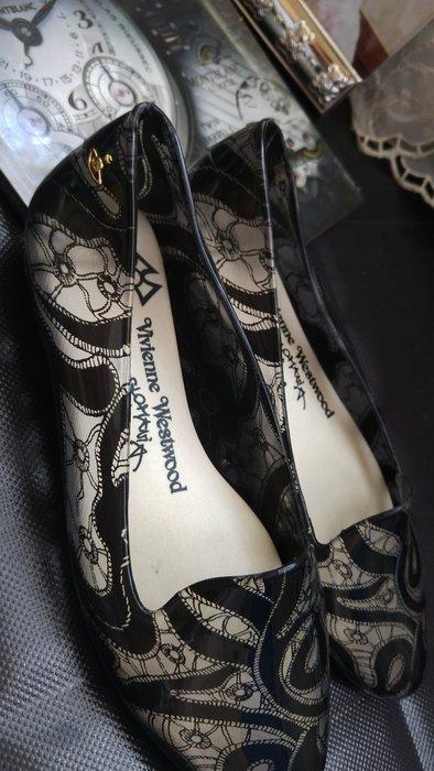 Vivienne Westwood x Melissa 聯名鏤空黑蕾絲果凍平底雨鞋