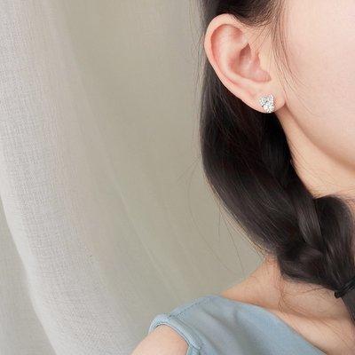 耳環 小巧 耳飾 簡約 大方 銀春春蝴蝶結耳釘女小耳環氣質超閃韓國個性耳飾淑女甜美學生