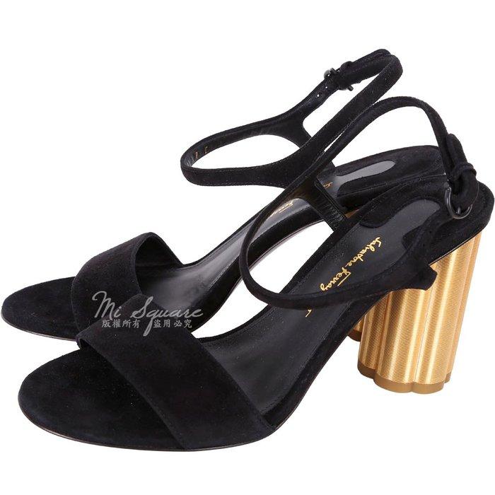 米蘭廣場 Salvatore Ferragamo SIENA85 花型粗跟麂皮繫帶涼鞋 1740032-01