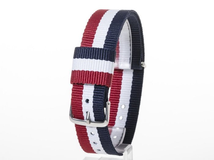 DW款式 編織加厚尼龍錶帶 尼龍手錶帶– 20mm銀色 – 藍白紅 FA-38794