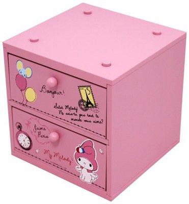 Gift41 市伊瓏屋 美樂蒂 兩抽收納盒 木製品 MM-0217