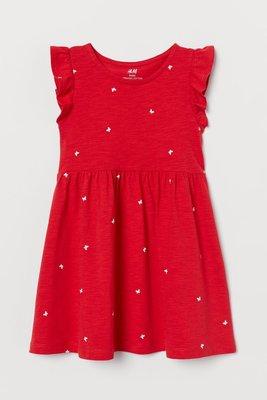 ╭♥︎喬喬屋♥︎╯[H&M]台北門市代買@童裝@ 女童 有機棉紅色/蝴蝶荷葉袖洋裝 1.5-10Y