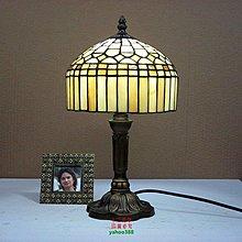 【美學】出口彩色玻璃檯燈歐式帝蒂凡尼地中海旅店睡房床頭燈(小號)MX_1022