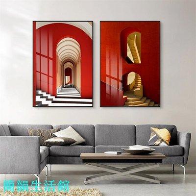 紅色殿堂 現代簡約玄關裝飾畫藝術空間酒店壁畫樣板間大掛畫【簡韻生活館】