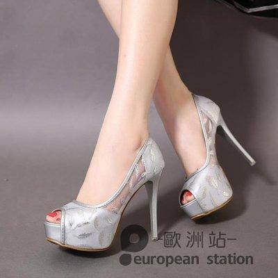 魚口高跟鞋/夏季12cm超高跟細跟涼鞋女韓版夜店防水台性感網紗蕾絲淺口鞋