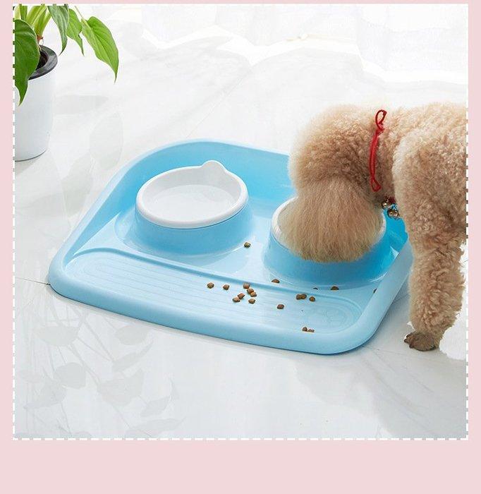 寵物用品 貓碗 雙碗寵物碗 防濺防漏狗碗 狗狗貓咪食盆WY