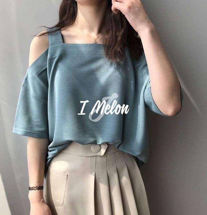 ::: i-MelOn :::100%韓國空運 正韓【現貨】素面肩帶露肩五分袖T恤上衣※藍綠