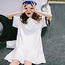 學院風polo領寬松字母刺繡短袖連衣裙女2018春夏新款學生荷葉邊裙