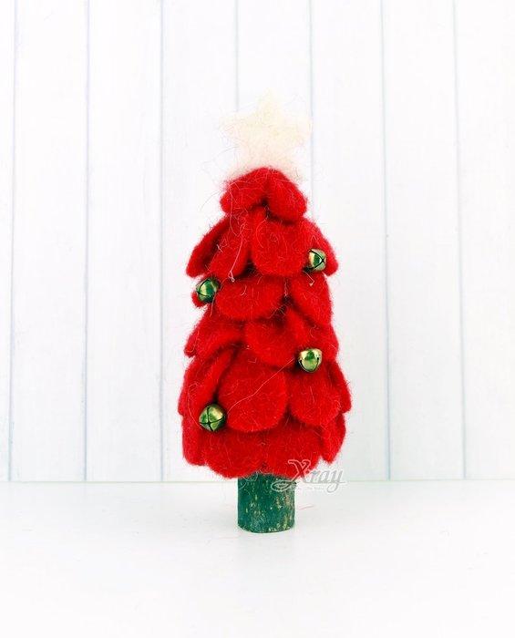 X射線【X811003】20cm毛氈片片樹-紅,聖誕節/造景佈置/櫥窗裝飾/大型擺飾/會場佈置/店面裝飾/擺飾