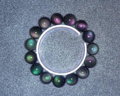【柴鋪】特選  墨西哥彩虹雙眼黑曜石手鍊  顆顆雙眼   14mm圓珠 男款 (G1-6)