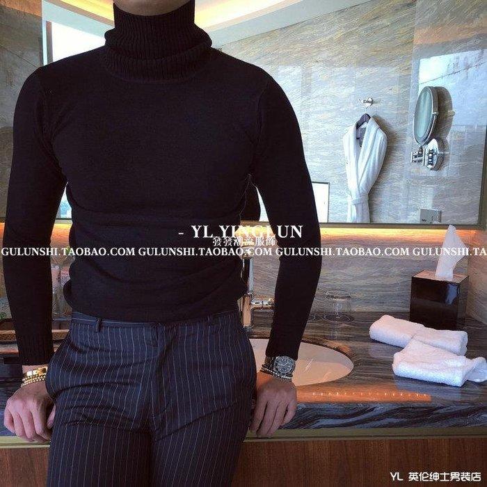 發發潮流服飾韓國冬男裝套頭針織衫正韓純色修身加厚高領毛衣男香港英倫東大門