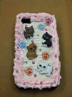 *2隻貓_獨家手創**奶油殼/手機殼**iphone HTC **可愛貓咪款_粉邊**生日禮物/情人節禮物