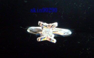 ((瑪奇亞朵的珠寶世界)) 豪華鑲嵌白色鑽石K白金戒指  主石0.14ct