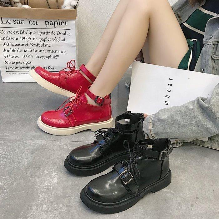 999短靴 靴子 馬丁靴 牛津靴  秋季韓版新款百搭ins馬丁靴女短筒英倫風學生平底chic短靴潮