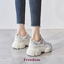 Freedom女鞋鞋夫人真皮網紅老爹鞋女2019新款透氣網面運動鞋厚底松糕鞋智熏鞋