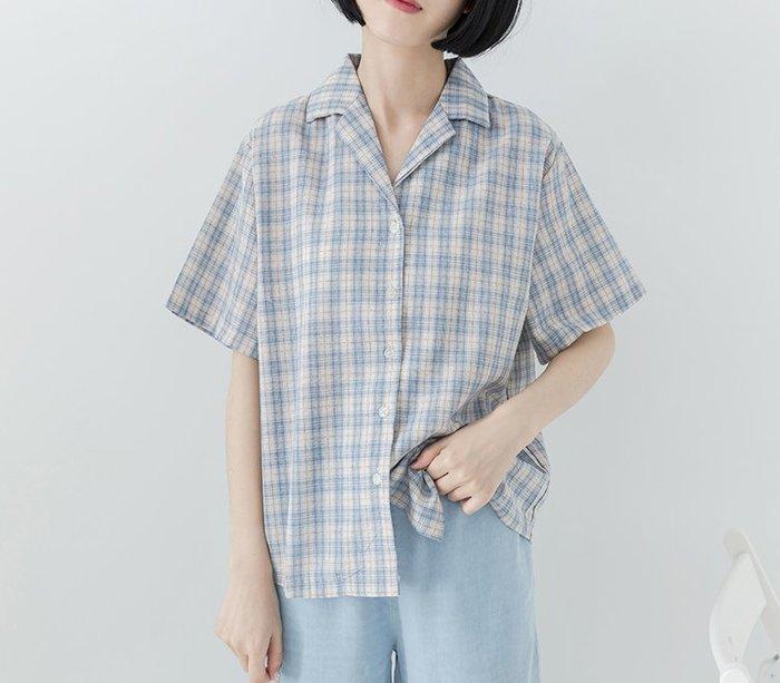 SEYES 日系雜誌基本款清新格紋V領短袖襯衫