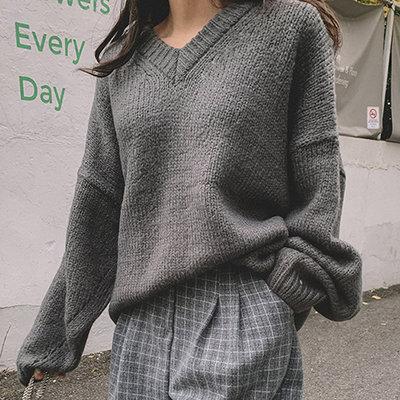 i-Mini 正韓|隨性大落肩V領寬鬆針織上衣|4色‧ 韓國連線‧代購‧空運【B11185457DU】