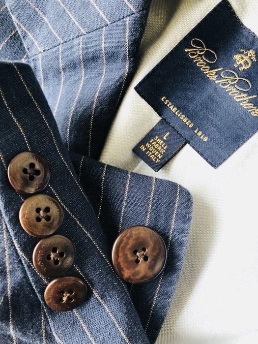 專櫃真品黑標【Brooks Brothers】深藍條紋100% 棉麻內裡格紋西裝外套