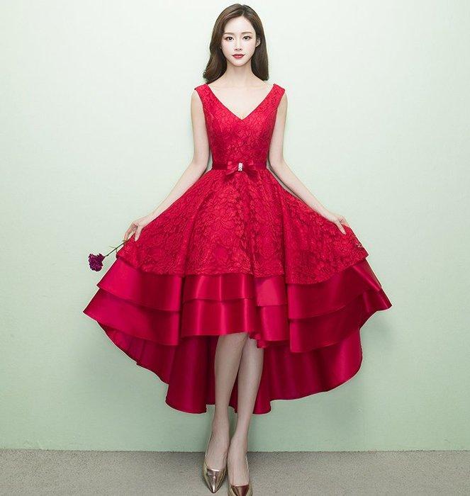 【曼妮婚紗禮服】3件免郵~結婚敬酒服 晚會 主持人服 韓版前短後長修身顯瘦小禮服 CB085