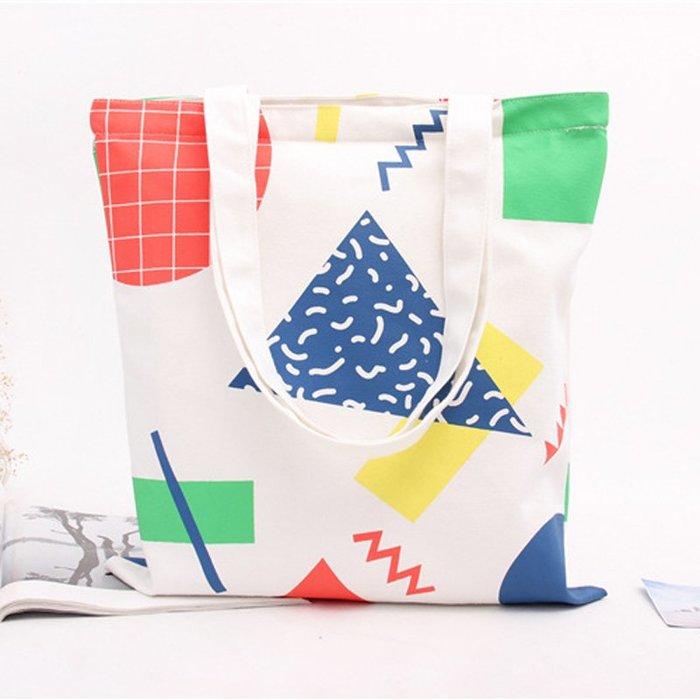 帆布手提袋 ❉︵ 小清新夏日長短提袋幾何圖形印花帆布包 購物包 ︵❉ 。Let's Go lulu's。CZ04