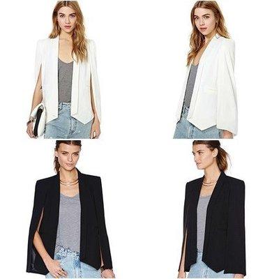 歐美時尚霸氣 西裝斗篷式外套 黑色 白色  有分尺碼 網紅網美女強人款 OL小資辦公室商辦通勤族  百搭經典款西裝外套