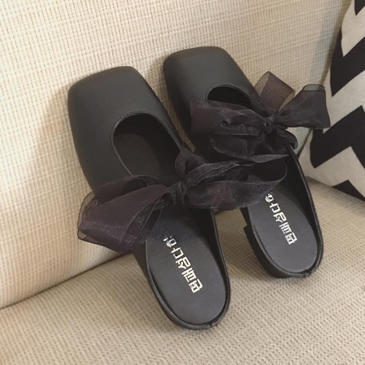 chic單鞋女2018春季新款包頭半拖鞋女韓國復古方頭百搭綁帶奶奶鞋