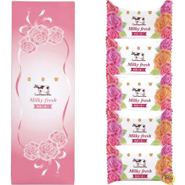 【JPGO】日本製 COW牛乳石鹼 牛乳香皂 肥皂 80gx5入~薔薇香 #872
