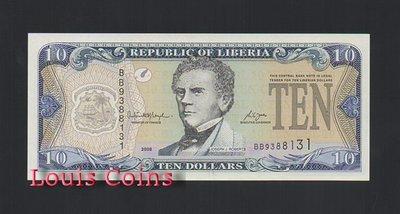 【Louis Coins】B239-LIBERIA--2008賴比瑞亞紙幣10 Dollars