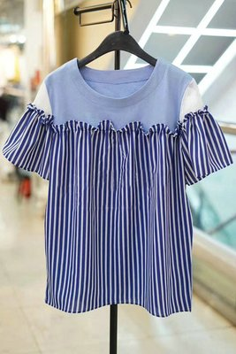夏季新款荷葉邊條紋拼接娃娃衫短袖t恤 兩色 預購