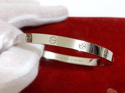 Cartier 卡地亞 白K金 經典款 love 手環 20號 新款螺絲