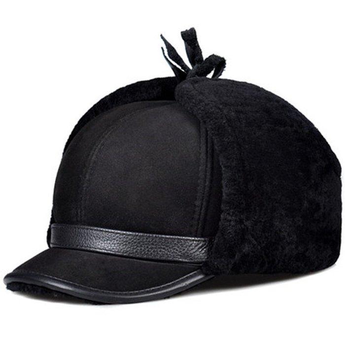 ~皮皮創~純手工真皮滑雪帽。秋冬加厚保暖大護耳羊皮毛一體男士雷鋒帽真皮帽子羊皮毛一體護耳帽 防風帽 擋風帽保暖真皮帽子