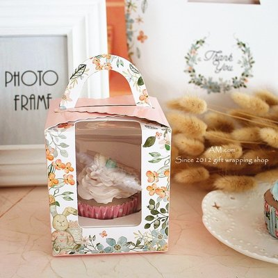AM好時光【M142】粉色森林小兔 透明開窗 西點杯子蛋糕 手提盒(附內托)❤婚禮小物 包裝盒 紙餐盒 布丁奶酪 保羅瓶