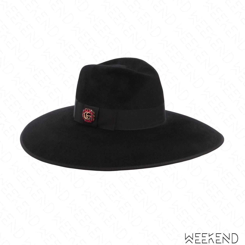 【WEEKEND】 GUCCI Logo 寬帽簷 黑緞帶 水晶 帽子 黑色 18春夏新款