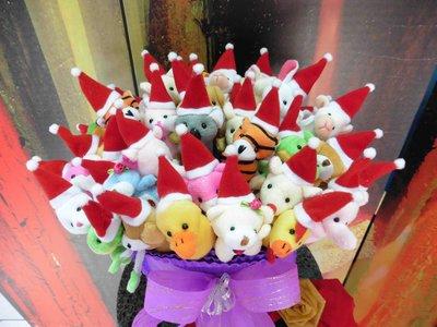 二藍優惠~50支聖誕帽動物絨毛筆+花籃~40多款公仔玩偶筆~耶誕節送客禮贈品結婚禮小物二次進場婚宴囍糖來店禮迎賓禮滿額禮