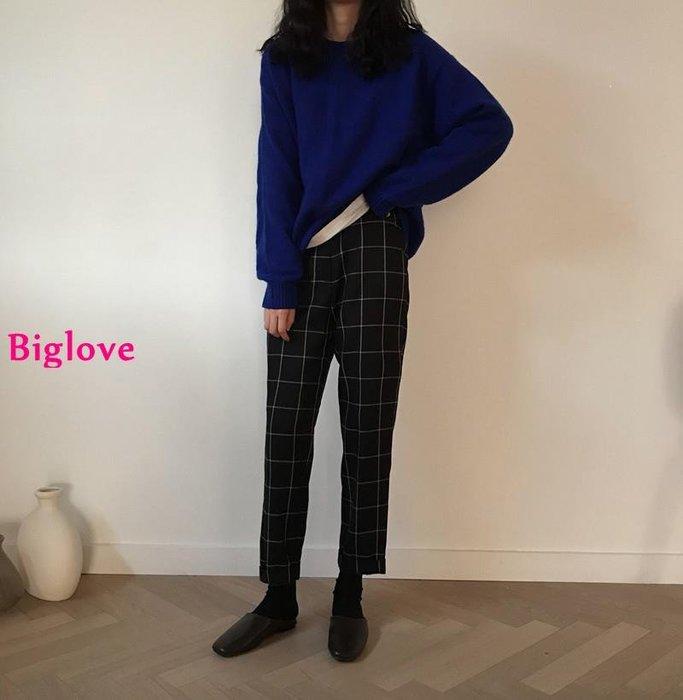 Biglove 復古小眾大熱寶藍疊穿毛衣+敲顯瘦格紋休閑高腰西裝褲女