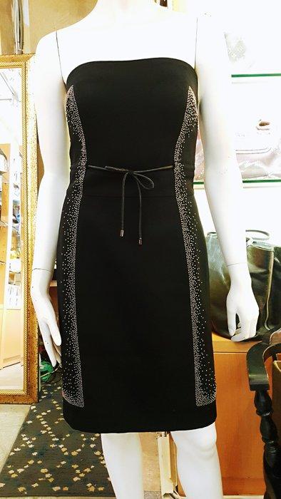 *旺角名店* ㊣ 全新 黃淑琦 綴珠 黑色平口小洋裝