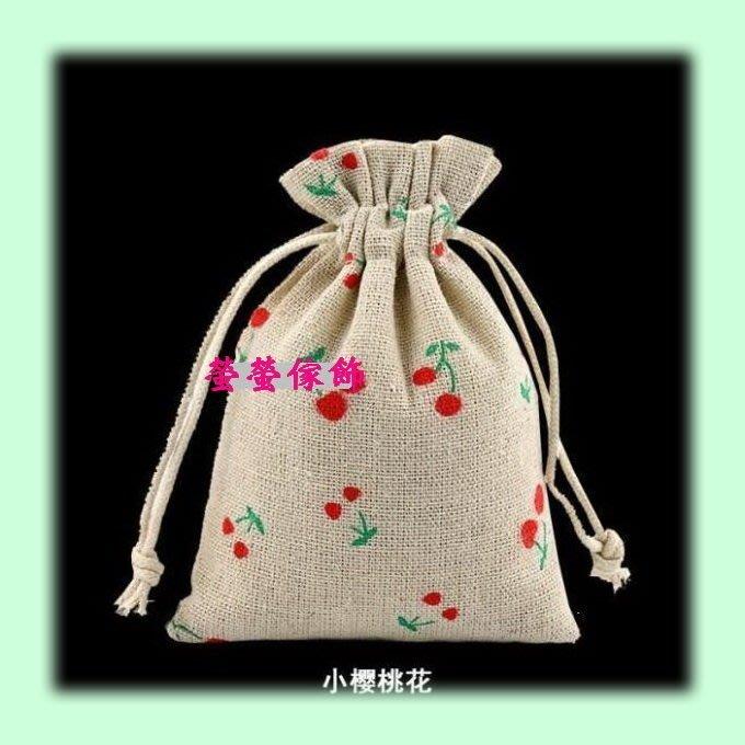 【螢螢傢飾】束口袋,帆布袋,棉麻布袋, 拉繩袋  萬用收納袋, 手工皂包裝袋 -小櫻桃-10x13