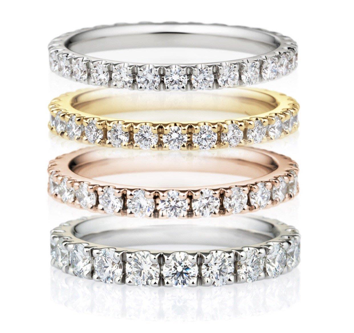 [永恆系列]18k黄金滿圈裙鑲鑽石戒指 白金玫瑰金訂製 tiffany agete I-Primo VA 送女友