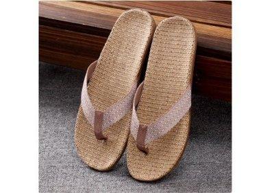 女款加大!就愛夾腳拖!天然亞麻拖鞋,吸汗透氣,簡單自然舒適 ~ 女款,人字淺棕,40~41