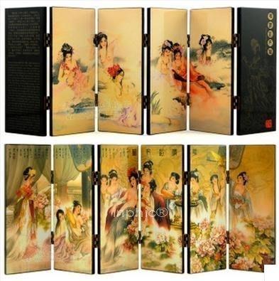 INPHIC-稻禾6扇漆器小屏風工藝品裝飾擺飾精緻時尚小 華清浴妃圖