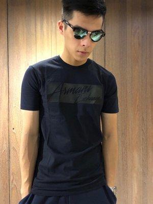 美國百分百【Armani Exchange】T恤 AX 短袖 草寫logo 上衣 T-shirt 深藍 I955