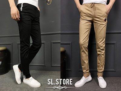 SL Store【SC55591】潮流LOGO裝飾條紋拉繩縮口褲.丈青/卡其/黑/S/M/L/XL/2XL