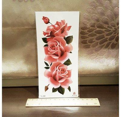 【萌古屋】大紅玫瑰手臂大圖 - 男女防水紋身貼紙刺青貼紙K19