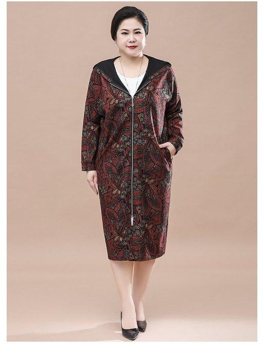 EF975 紅底花色中長款連帽插肩袖均碼55-110公斤秋冬婆婆裝媽媽裝風衣女裝外套大尺碼大碼超大尺碼