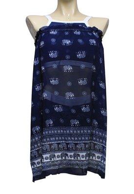 【M9432 】梅林泳裝2020新品~大女深藍大象紋短版搭罩衫三件式 贈泳帽