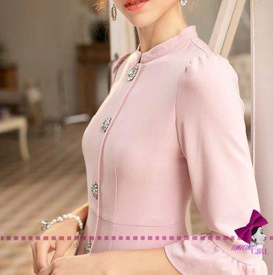 limiting_girl 預購 2019【歐洲時裝指標】1005 浮和花之美 淡雅X內斂 精緻剪裁修身 連身裙