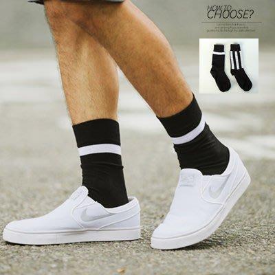 柒零年代【N9723J】簡約質感黑白配色條紋長筒襪子